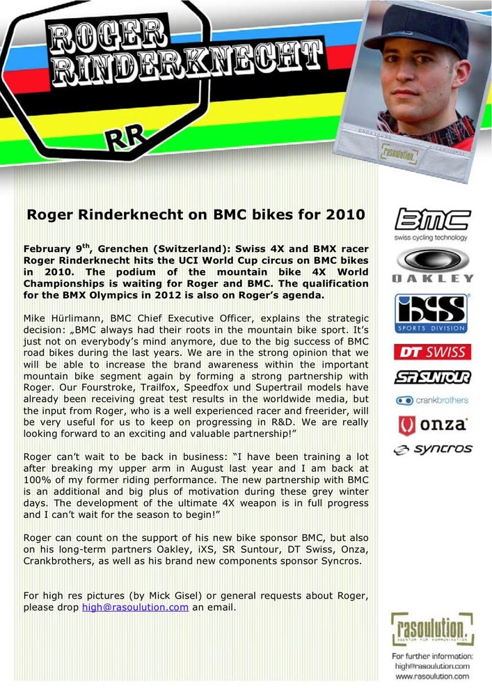 Roger Rinderknecht with BMC bikes for 2010
