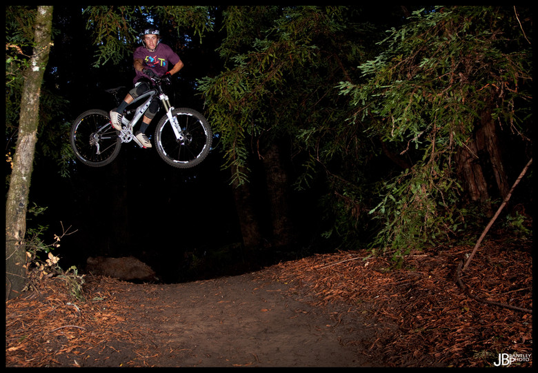 Tyler McCaul riding his trail bike with the Vengeance HLR