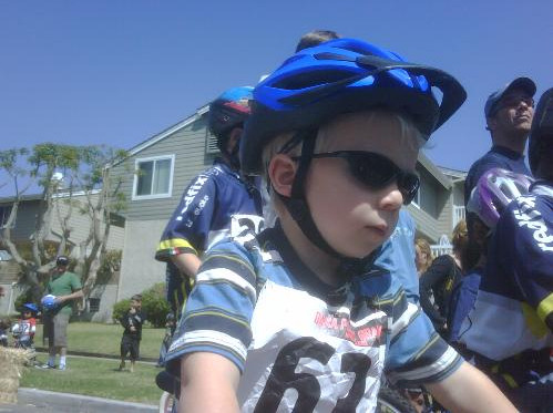 Tyler is already a pinner on his bike.