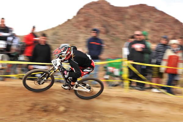 Gabriela Williams flying around a turn